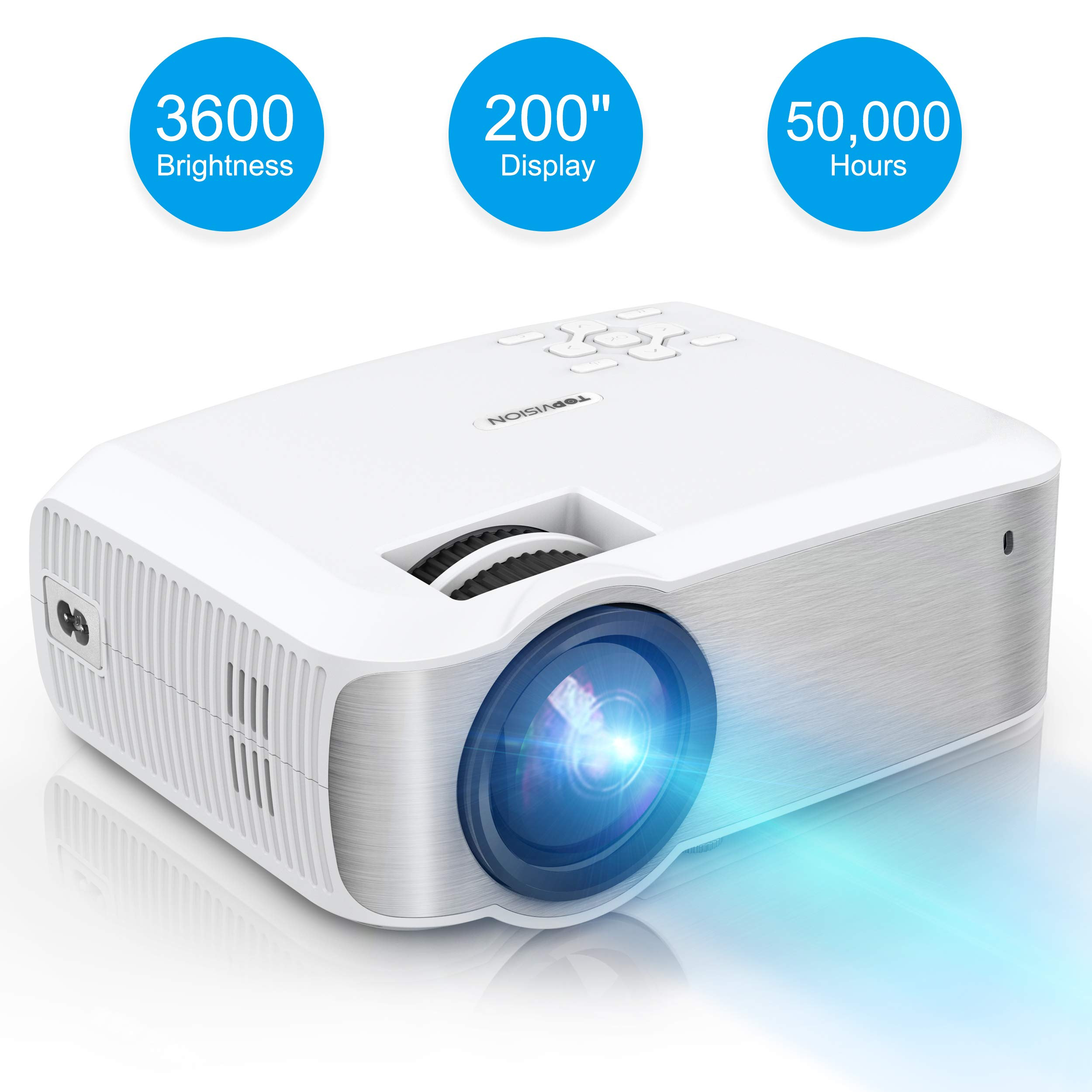 Video Projector, TOPVISION Native 720P Full HD LED Projector 2019 Upgraded, 50,000 Hrs Home Movie Projector for Indoor/Outdoor, Compatible with Fire TV Stick, PS4, HDMI, VGA, AV, USB