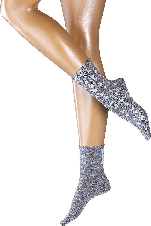 Esprit Damen Socken Hearts 2 Pack Baumwollmischung 2 Paar Grau Light Grey 3400 Größe 36 41 Bekleidung