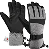 Andake Ski Gloves for Women, 3M Thinsulate Warm Winter Snowboard Gloves Insulated Gloves Waterproof Windproof Gloves with Adjustable Cuffs, Best for Riding, Snowboarding,Skiing and other Winter Sports