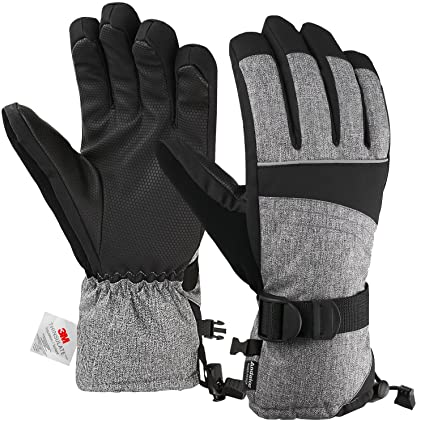 Andake Mens Ski Gloves 3M Thinsulate Insulated Thermal Warm Snow Gloves  Waterproof Windproof Non-Slip 9a99c16226e8