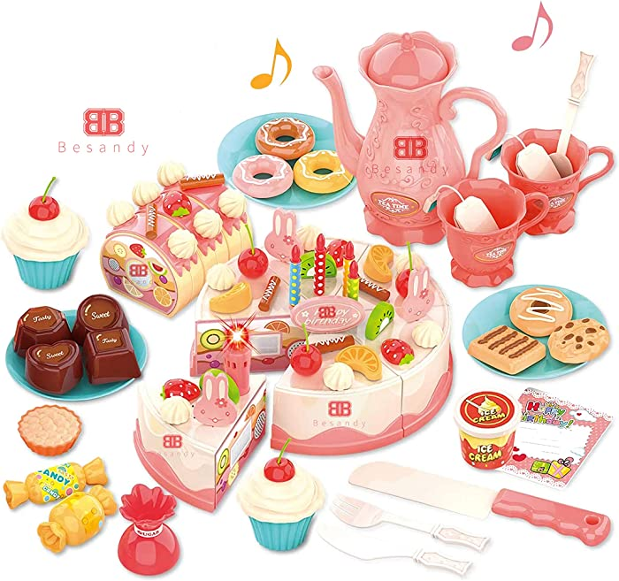 Cutting Birthday Cake Toys,Pretend Play for Kids,Light and Music 82Pcs DIY Pretend Cake Set with Candles,Dessert,Dount,Educational Toys for Kids, Play Food Complete Kids Toy Set
