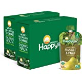 Happy Baby Organics Clearly Crafted Stage 2 Baby Food, Pears, Kale & Spinach, 4 Ounce Pouch (Pack of 16)