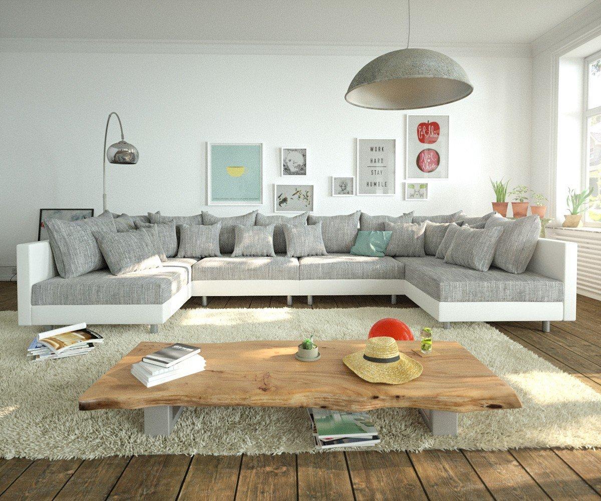 Couch Clovis Xl Weiss Hellgrau Wohnlandschaft Modulsofa Gunstig