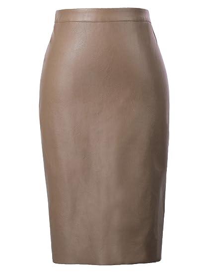 6f307be655 Kate Kasin Camel Cute Pin Up Leather Back Split Hips-Wrapped Pencil Skirt S  KK601