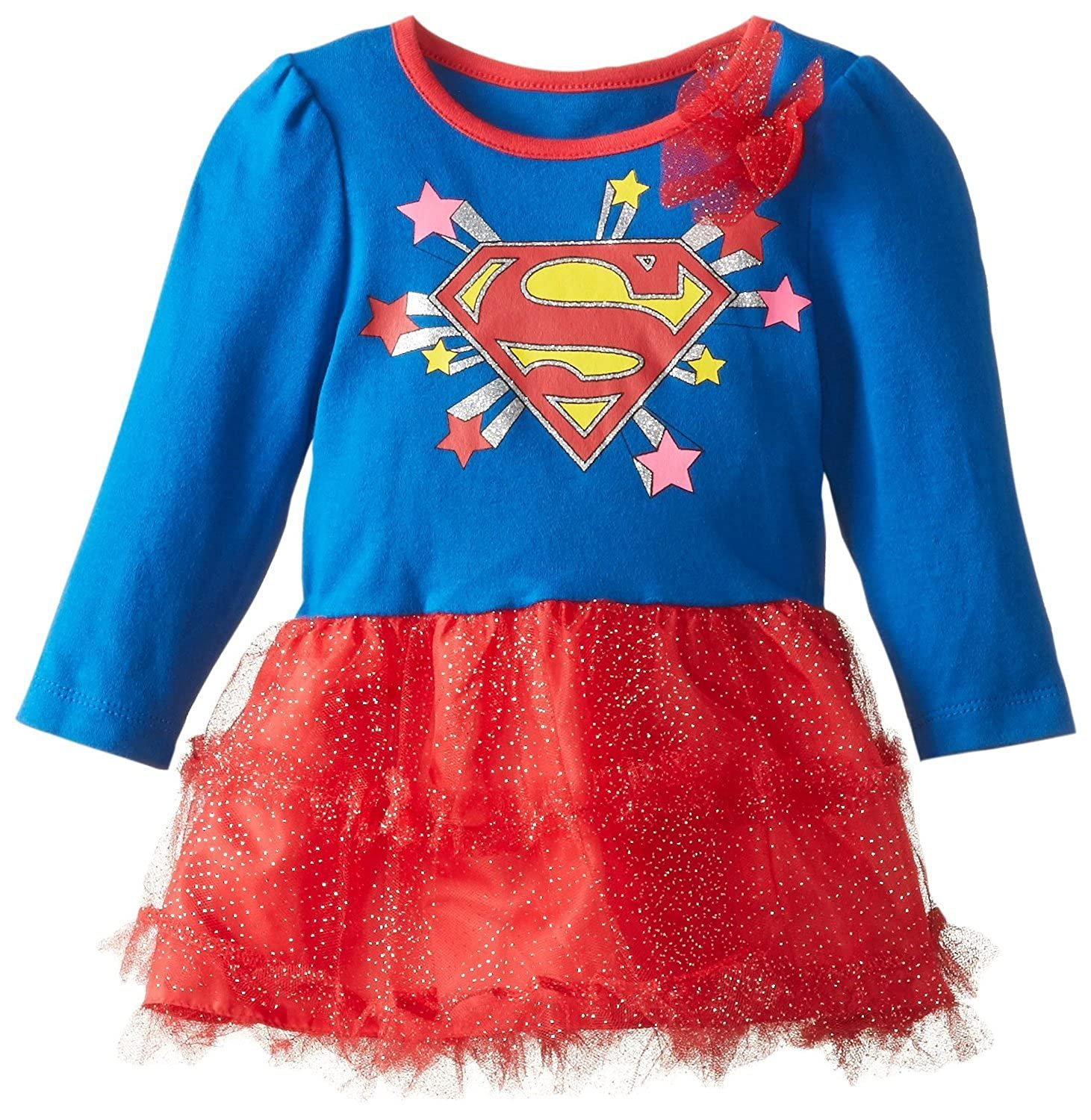 DC Comics Baby Girls' Supergirl Costume Dress - Long Sleeve Shirt with Tutu and Cape