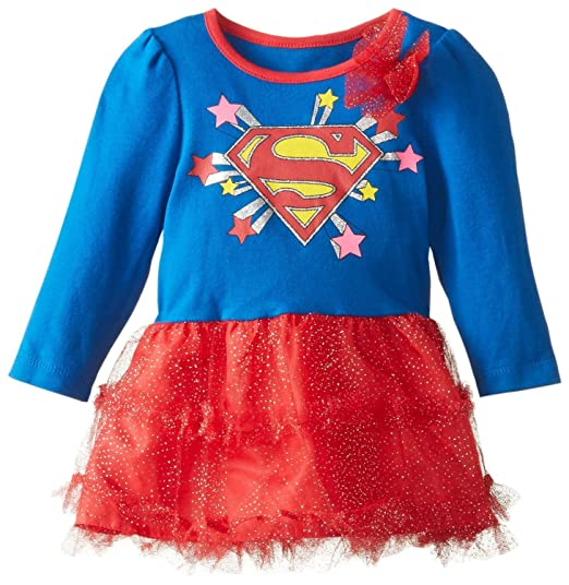 420bf4ee12c Image Unavailable. Image not available for. Color  DC Comics Baby Girls  Supergirl  Costume Dress - Long Sleeve Shirt with Tutu and Cape