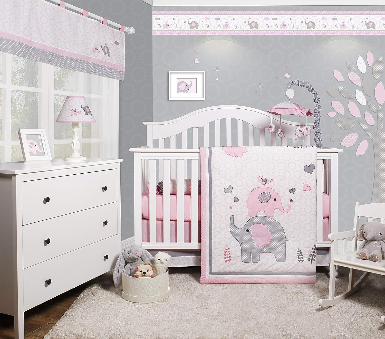 Bumperless 5 Pieces OptimaBaby Pink Grey Elephant Baby Nursery Crib Bedding Set, Elephant Baby Bedding, Crib Bedding Sets for Girls, Baby Girl Crib Bedding Set