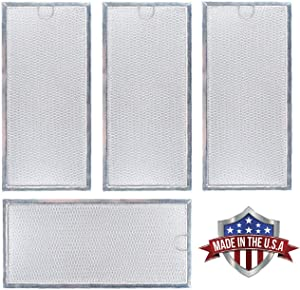 Microwave Grease Filter WB06X10596 Replacement For Many GE Microwaves, Samsung DE63-00196A 13-3/8 x 5-7/8 x 1/8 (Made in USA) (4-Pack)
