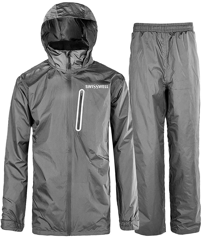 SWISSWELL Traje de lluvia para hombre, impermeable, ligero, con capucha, para golf, senderismo, viajes (chaqueta y pantalón)
