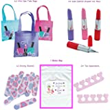Girl's Spa Party Favors (12 Tote Bags, 12 Lipstick tube shaped Ink Pens, 24 Toe Separators, 12 Emery Boards) by Multiple