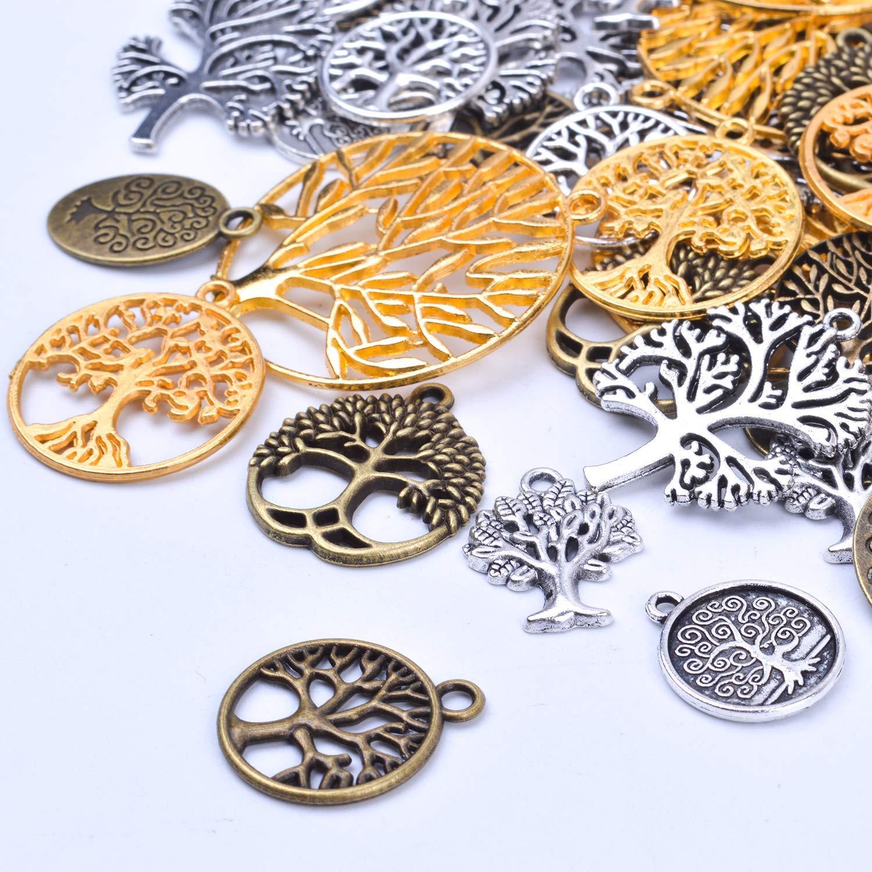 BronaGrand 50 colgantes de aleaci/ón para hacer pulseras y collares 3 colores dise/ño de /árbol de la vida