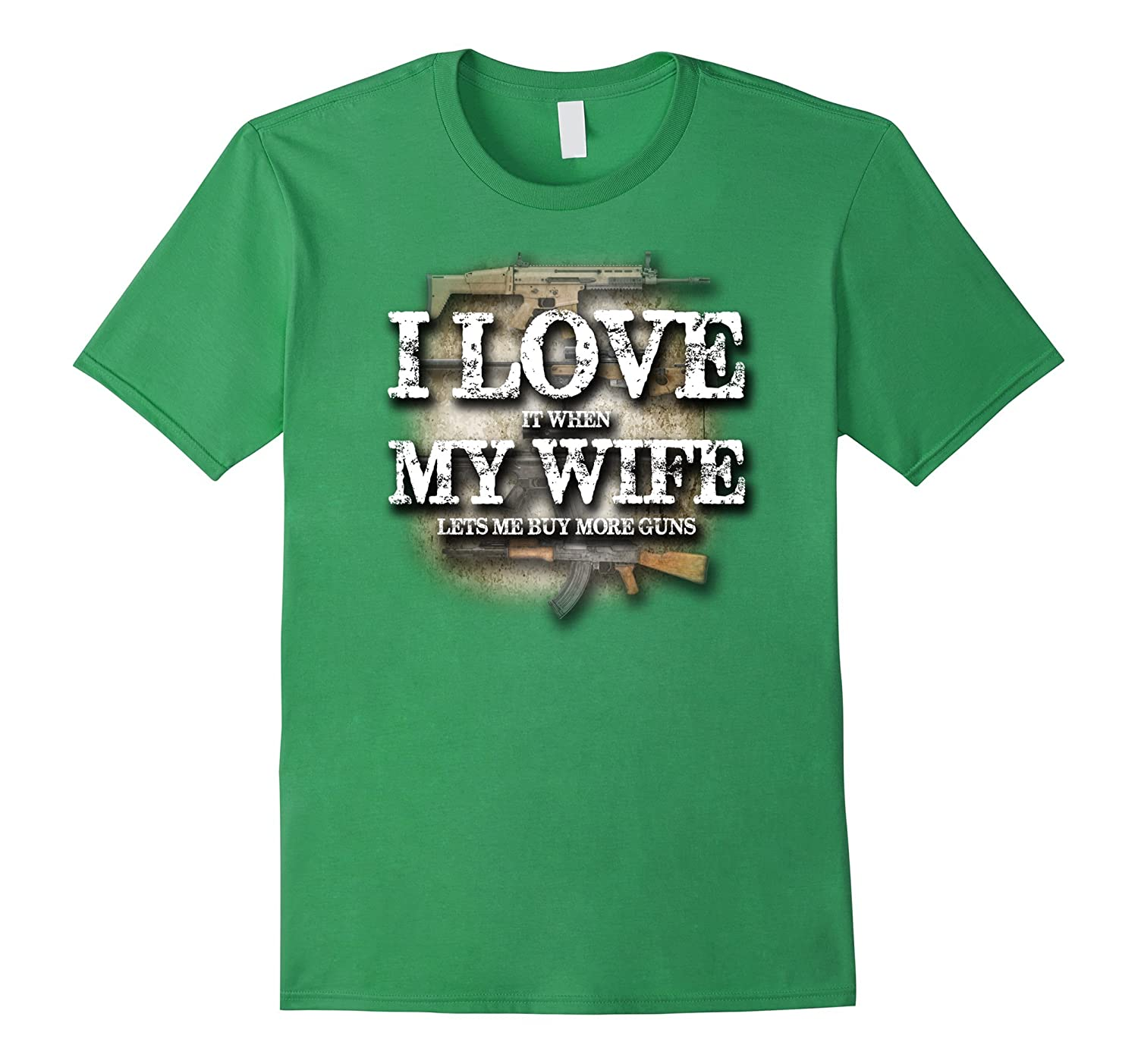 Mens PREMIUM I LOVE it when MY WIFE lets me buy more guns tShirt-RT