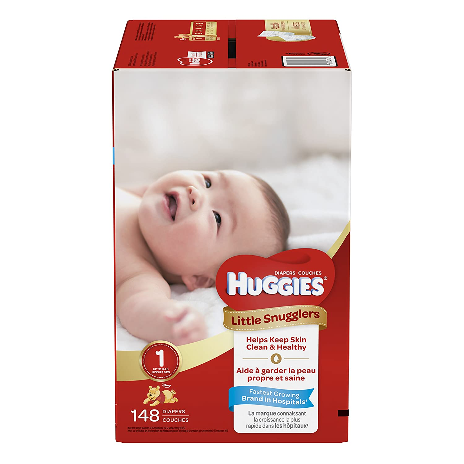 HUGGIES LITTLE SNUGGLERS, Baby Diapers, Size 4, 144ct Kimberly Clark 43418