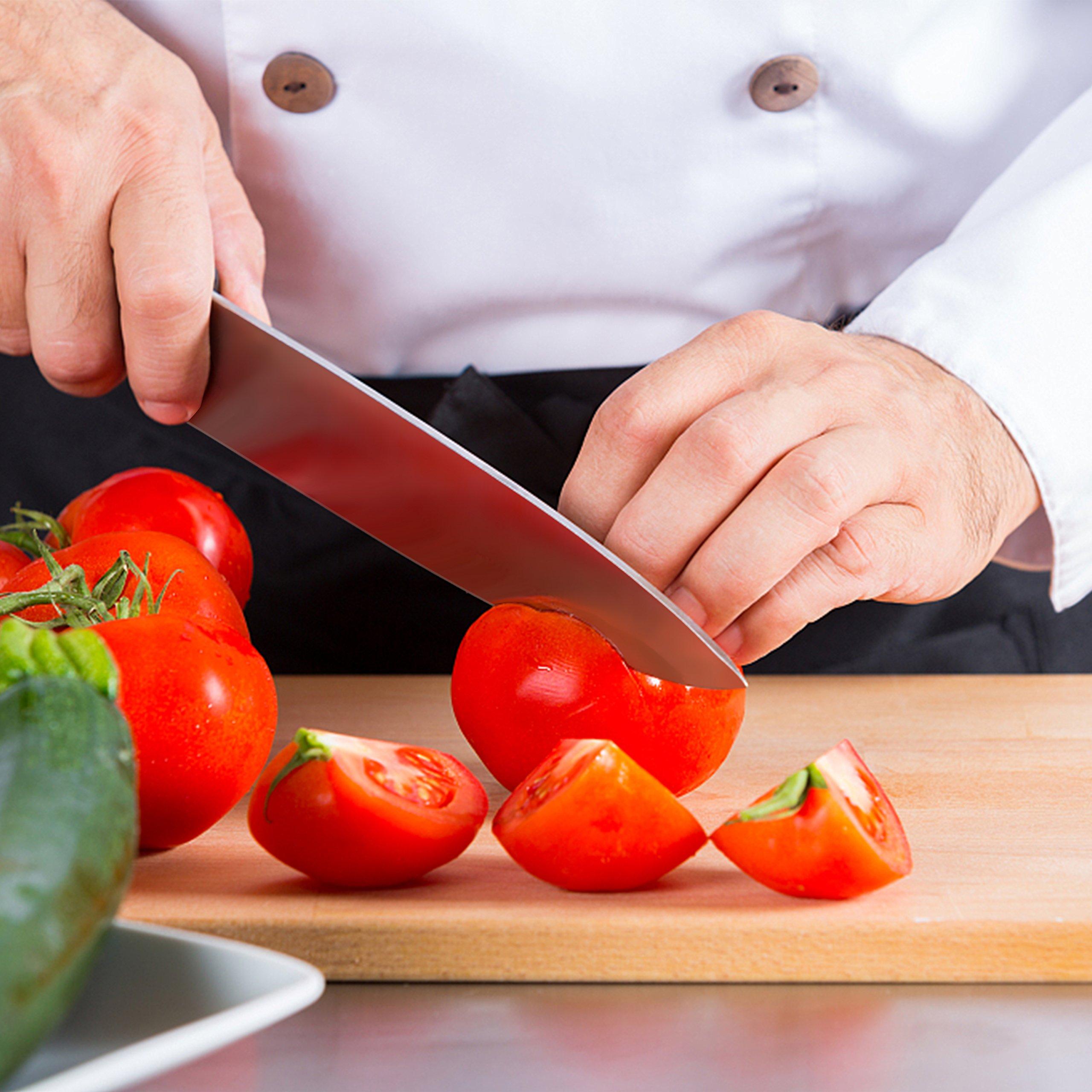 Küchenmesser, Profi 20cm Kochmesser ,Chefmesser,Gemüsemesser,Allzweckmesser, Kartoffelschälmesser aus hochwertigem Carbon Edelstahl,Extra Scharfe Messerklinge, Ergonomischer Holz-Griff