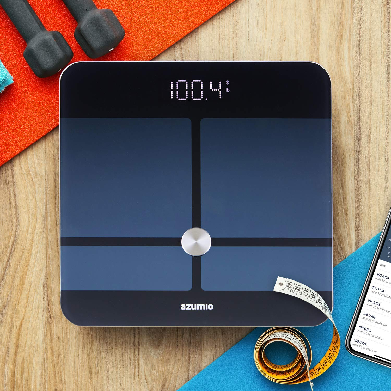 Azumio Bluetooth Digital Smart Scale for Body Weight | 6mm Tempered Glass LED Display Measures Body Fat, Visceral, BMI, BMR, Muscle Mass, Bone Mass Water Weight in KG or LB | iOS & Android Compatible by Azumio (Image #7)