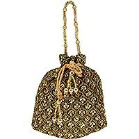 Bagaholics Ethnic Clutch Silk Potli Batwa Pouch Bag with Metal Beadwork Gift For Women