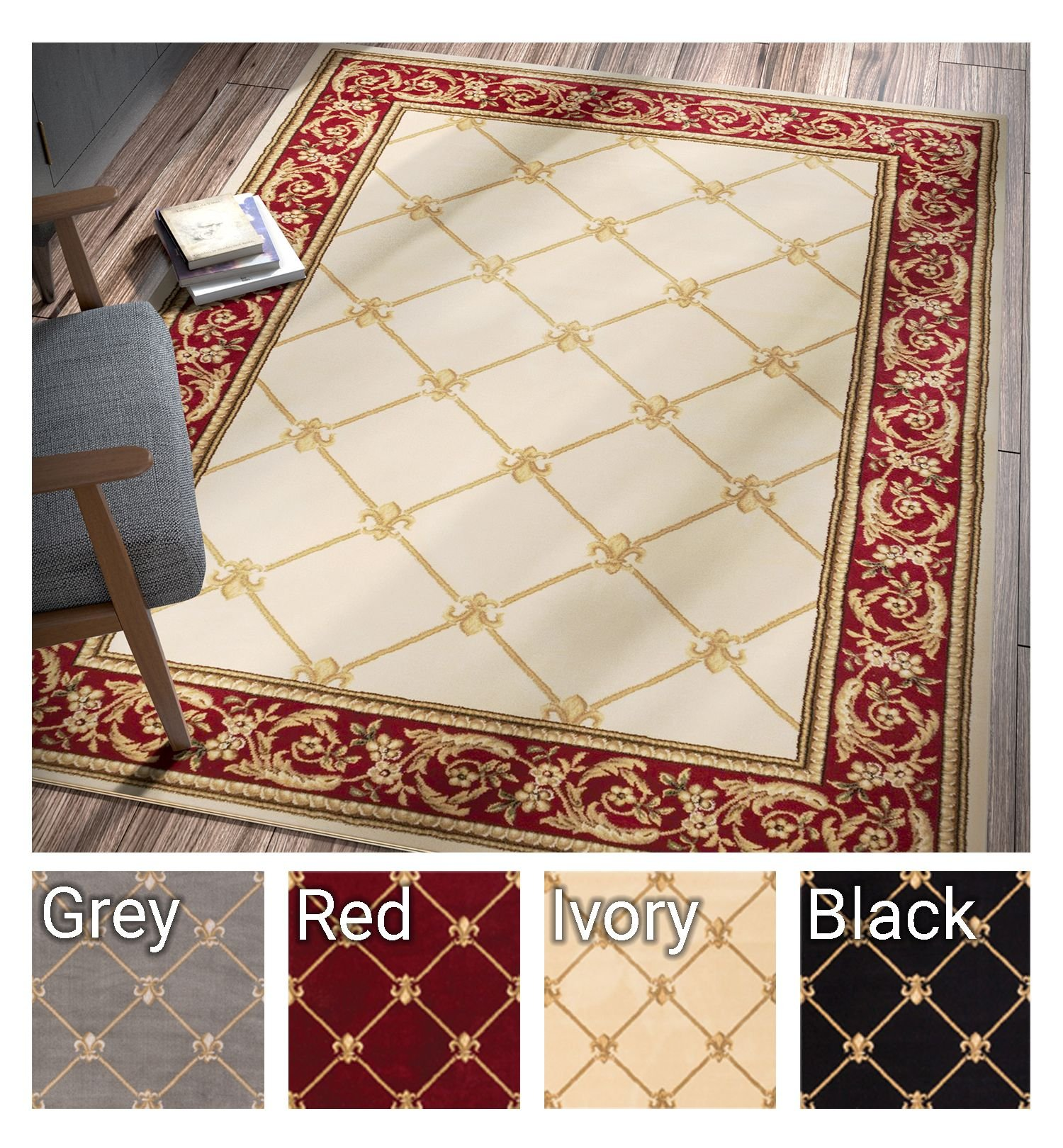 Patrician Trellis Ivory French European Formal Traditional 4x5 4x6 (3'11'' x 5'3'' Area Rug Easy to Clean Stain/Fade Resistant Shed Free Contemporary Floral Thick Soft Plush Living Dining Room Rug
