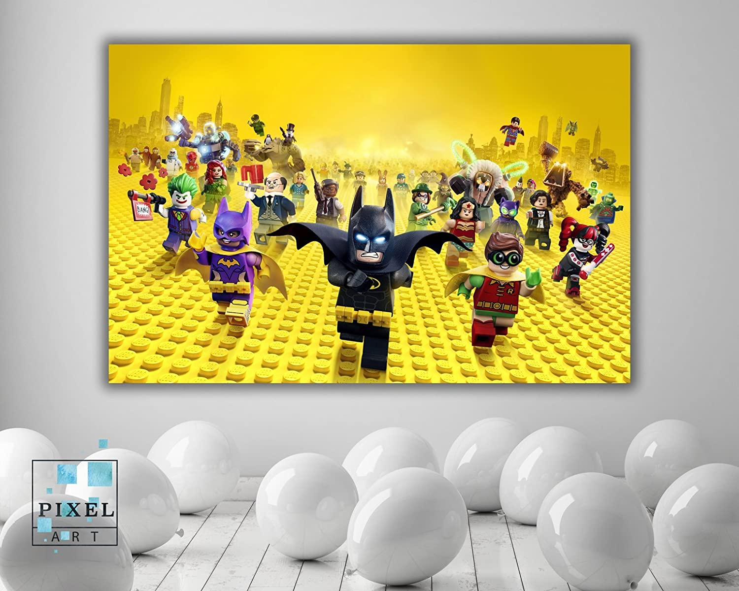 Amazon.com: Lego Batman Kids Movie Canvas Print Wall Hanging Framed ...