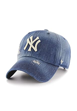 innovative design 5966d 74aa1  47 Brand Cap - MLB New York Yankees Clean up Curved V Relax Fit Loughlin  Blue Size  Adjustable  Amazon.co.uk  Clothing