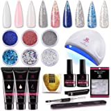 Makartt Nail Extension Gel Kit 30ml, Gel Builder Clear White Pink with 24W LED Nail Lamp and Glitter Powders Gorgeous…