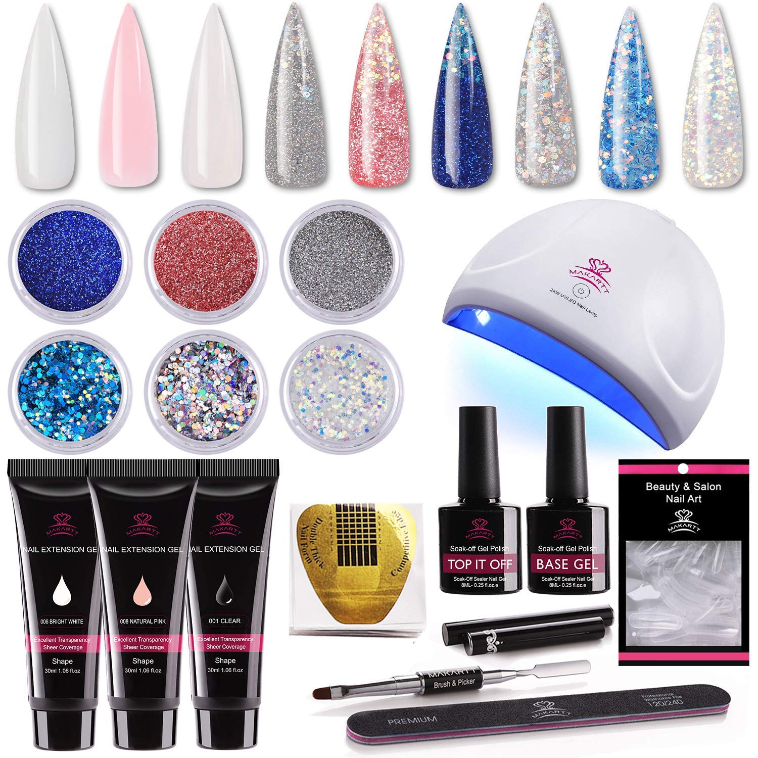 Makartt Nail Extension Gel Kit 30ml, Gel Builder Clear White Pink with 24W LED Nail Lamp and Glitter Powders Gorgeous French Manicure Kit P-09 : Beauty