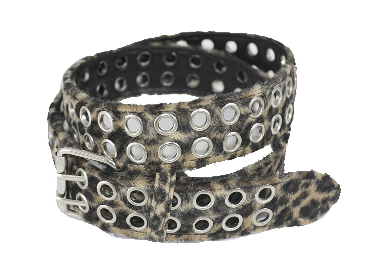 Damengürtel Leopardenmuster Fell Kunstfell mit Nieten 110cm