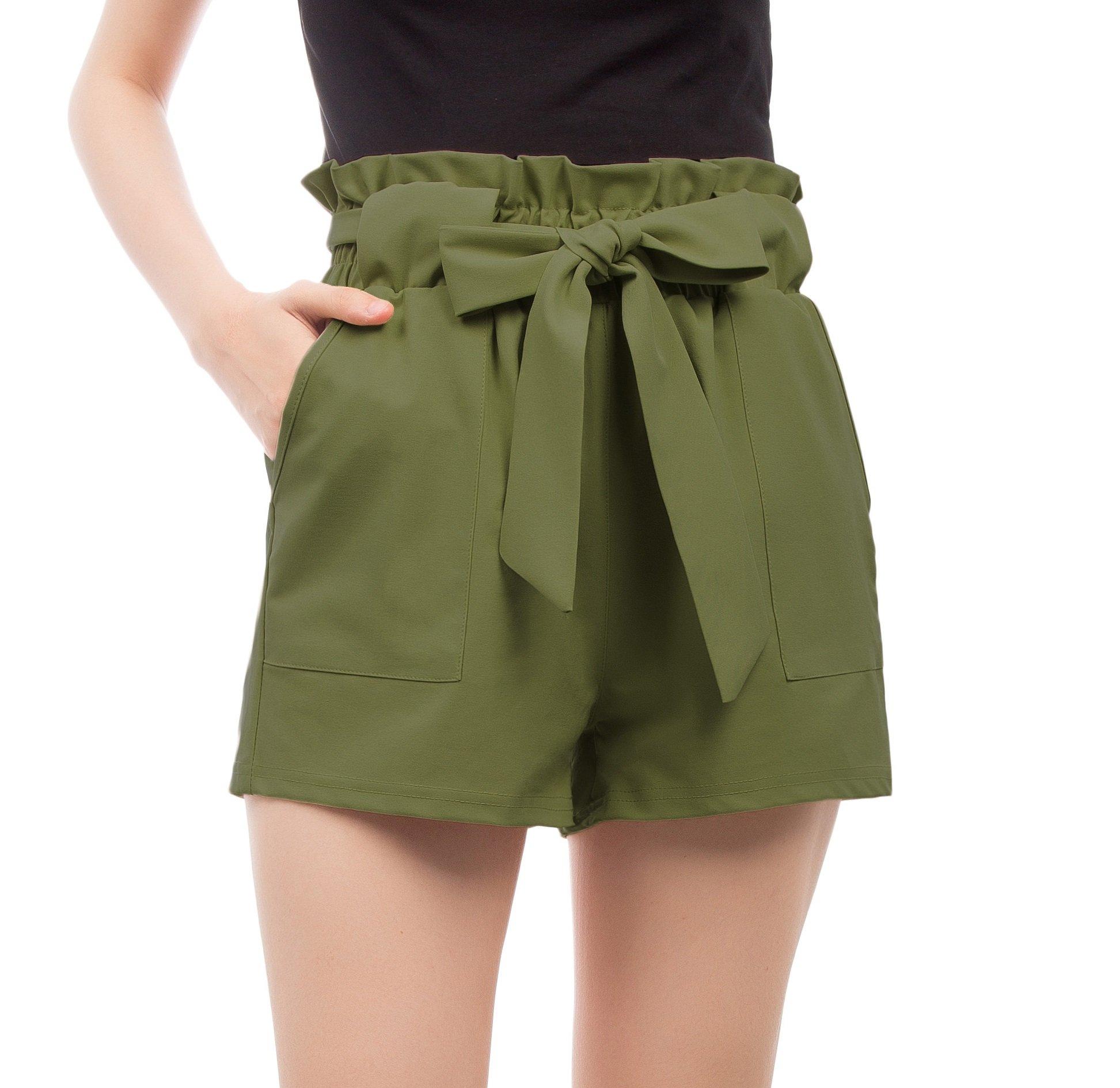 Women's Simple Solid Ruffle Tie Waist Shorts XXL Army Green-2