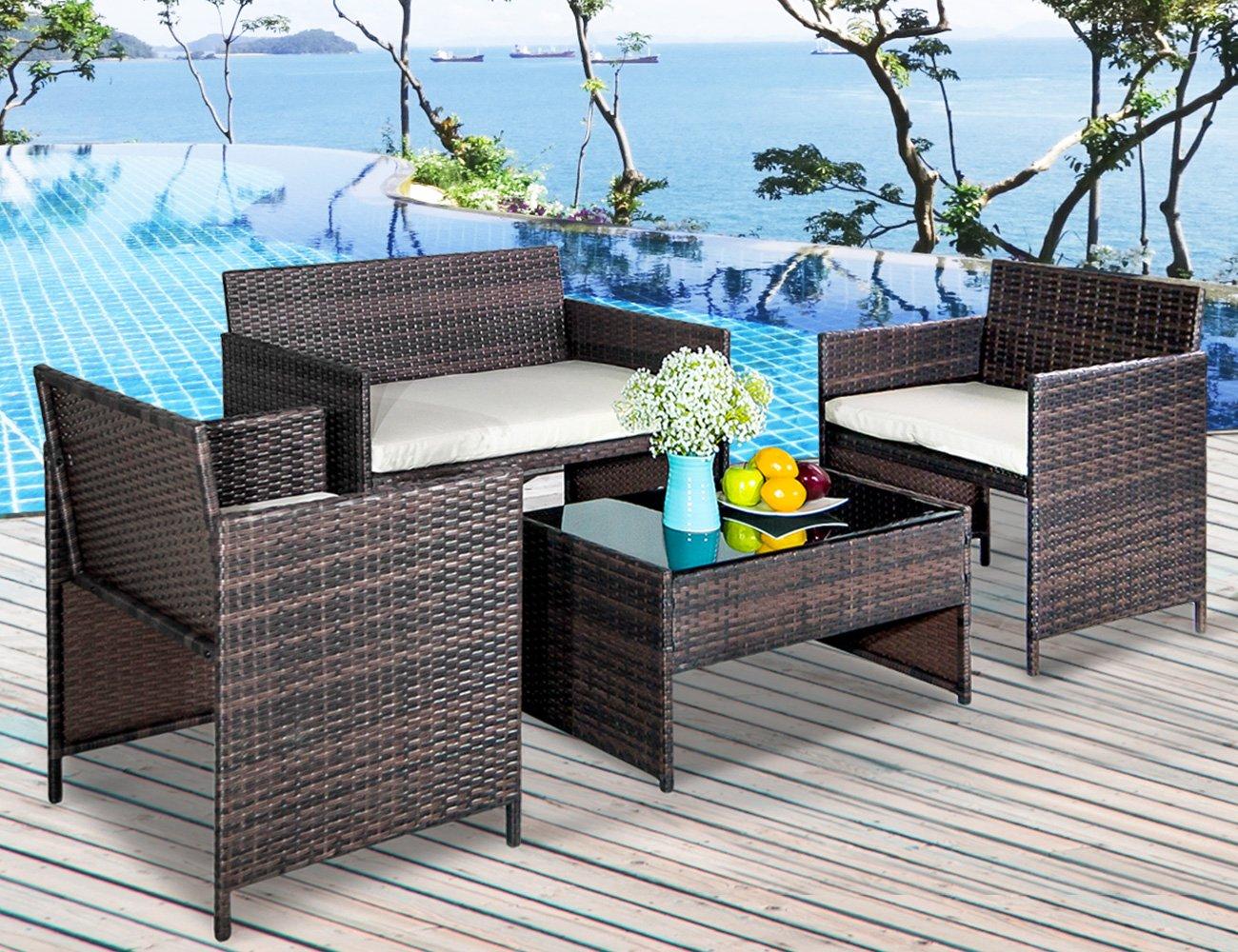 Leisure Zone 4 PC Rattan Patio Furniture Set Garden Lawn Sofa Cushioned Seat Wicker Sofa (Brown)