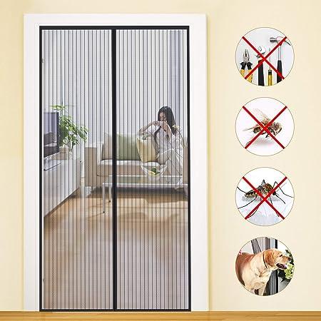Cortina Mosquitera Para Puertas Negro de Malla Ultrafina Cierre Autom/ático Magn/ética Fuerte Instalaci/ón F/ácil para Sala de Estar Balc/ón