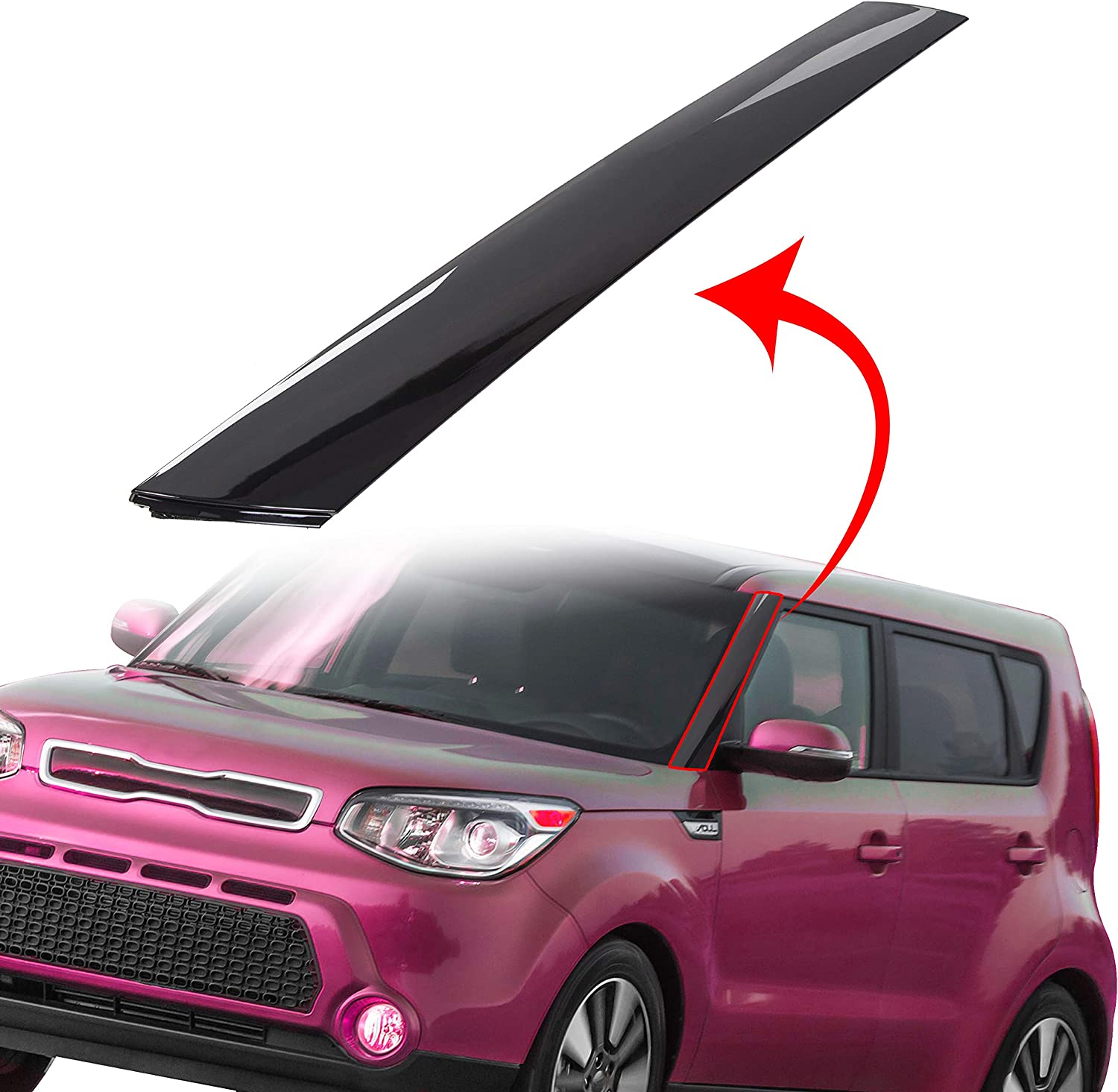 ECOTRIC Left Driver Side Exterior Molding Windshield Pillar Trim Compatible with Kia Soul 2010-11-12-13