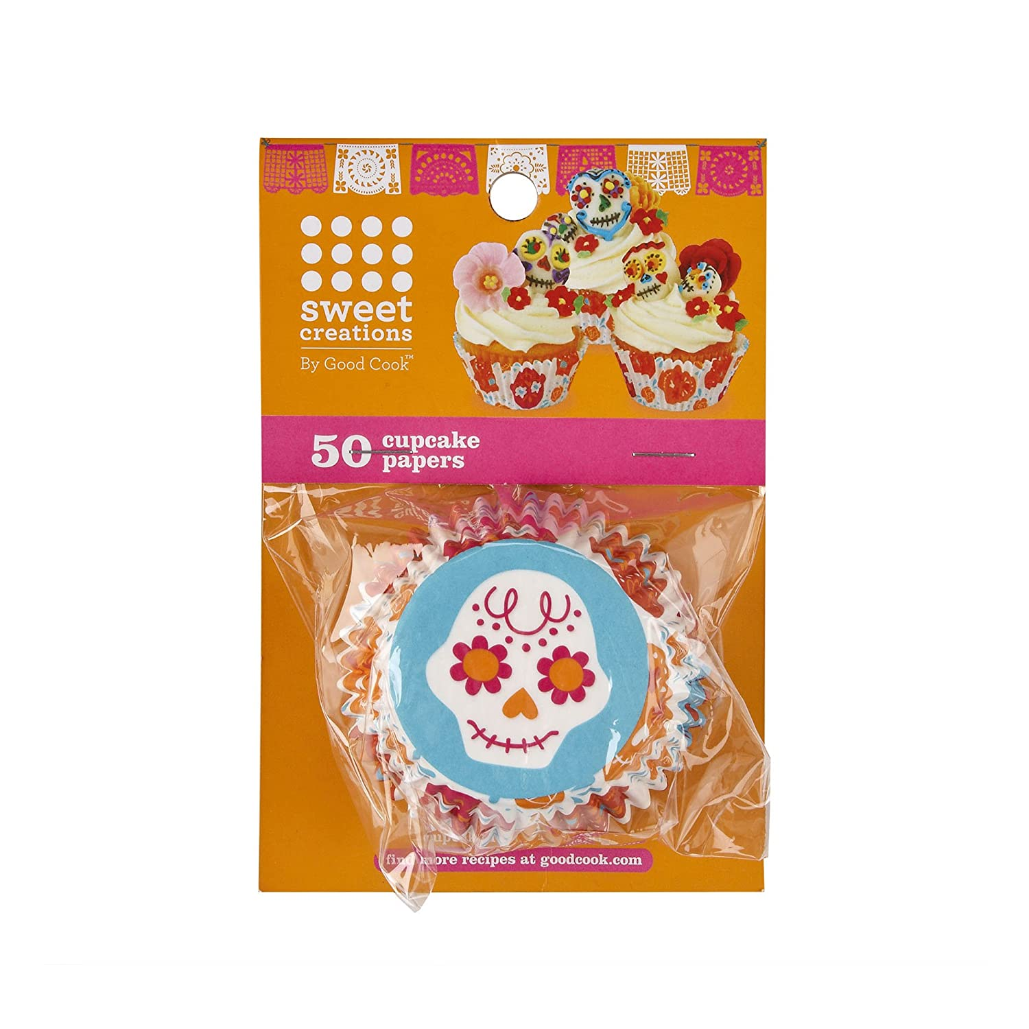 Sweet Creations 50 Count Day of the Dead Halloween Party Skull Cupcake Papers 05011