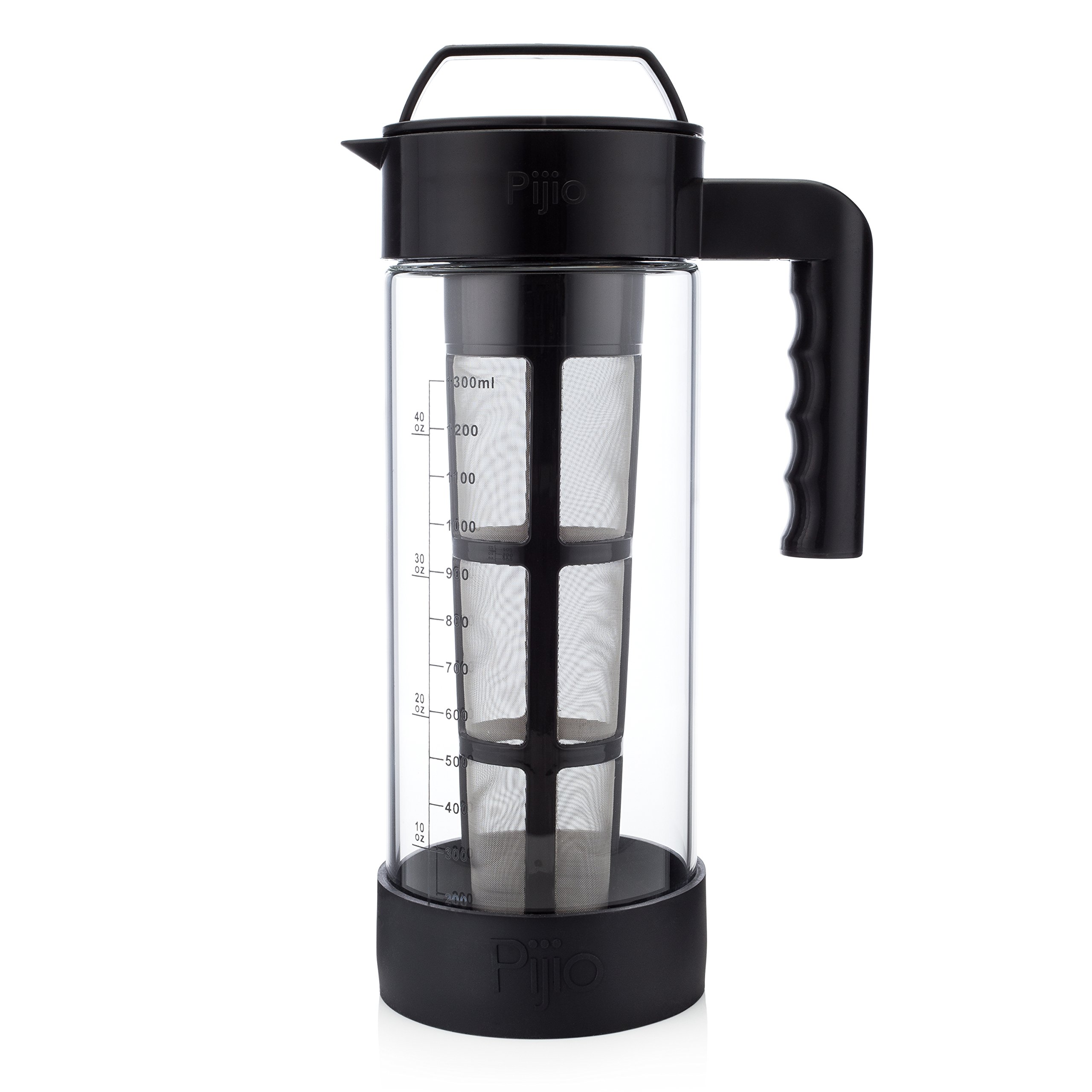 XL Best Glass Cold Brew Coffee Maker & Iced Tea Pitcher Kit, Makes 1.3 Liters of Concentrate - Airtight Seal - System includes Jar / Carafe / Pot, Reusable Large Stainless Steel Micro Filter & Bumper by Pijio