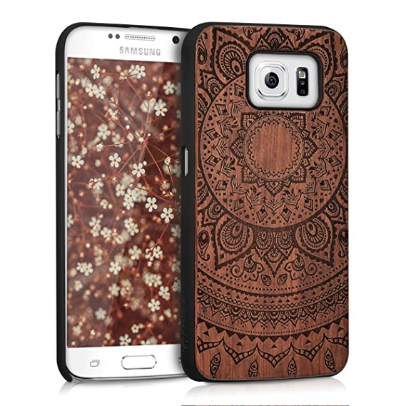 huge discount cd0f9 513fd kwmobile Samsung Galaxy S6 / S6 Duos Wood Case - Non-Slip Natural Solid  Hard Wooden Protective Cover for Samsung Galaxy S6 / S6 Duos