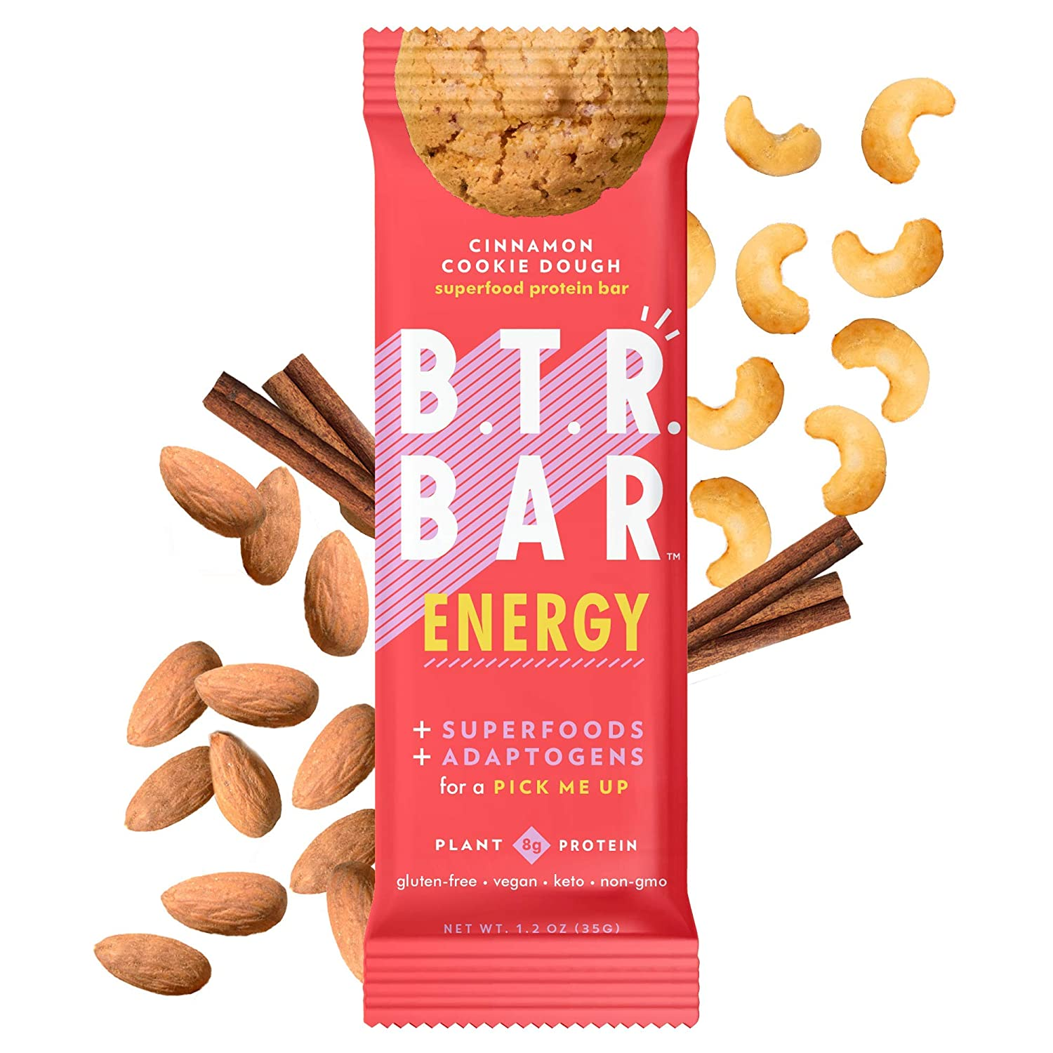 B.T.R. Bar Superfood Keto Protein Bars, Plant Based Vegan Protein, Low Carb Food, Low Calorie, Gluten Free, No Sugar Alcohols, Boosted with Superfoods & Adaptogens (12 Pack) (Cinnamon Cookie Dough ENERGY)
