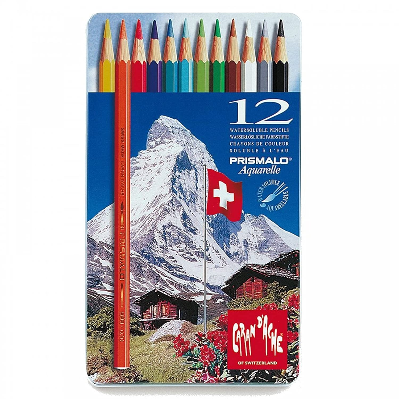 Caran Dache Prismalo Aquarelle Artist Watercolour Pencil Metal Case Set Of 80