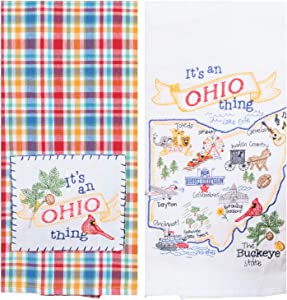 Kay Dee Designs Ohio Map Home State & Souvenir Embroidered Dish Towels, Bundle Set of 2 State of Ohio Kitchen Towels