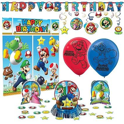 Super Mario Bros Premium Fiesta De Cumpleaños Pack Kit Decoración