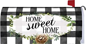Custom Decor Gingham Home Sweet Home - Mailbox Makeover - Vinyl with Magnetic Strips for Steel Standard Rural Mailbox - Made in The USA - Copyright, Licensed and Trademarked Inc.