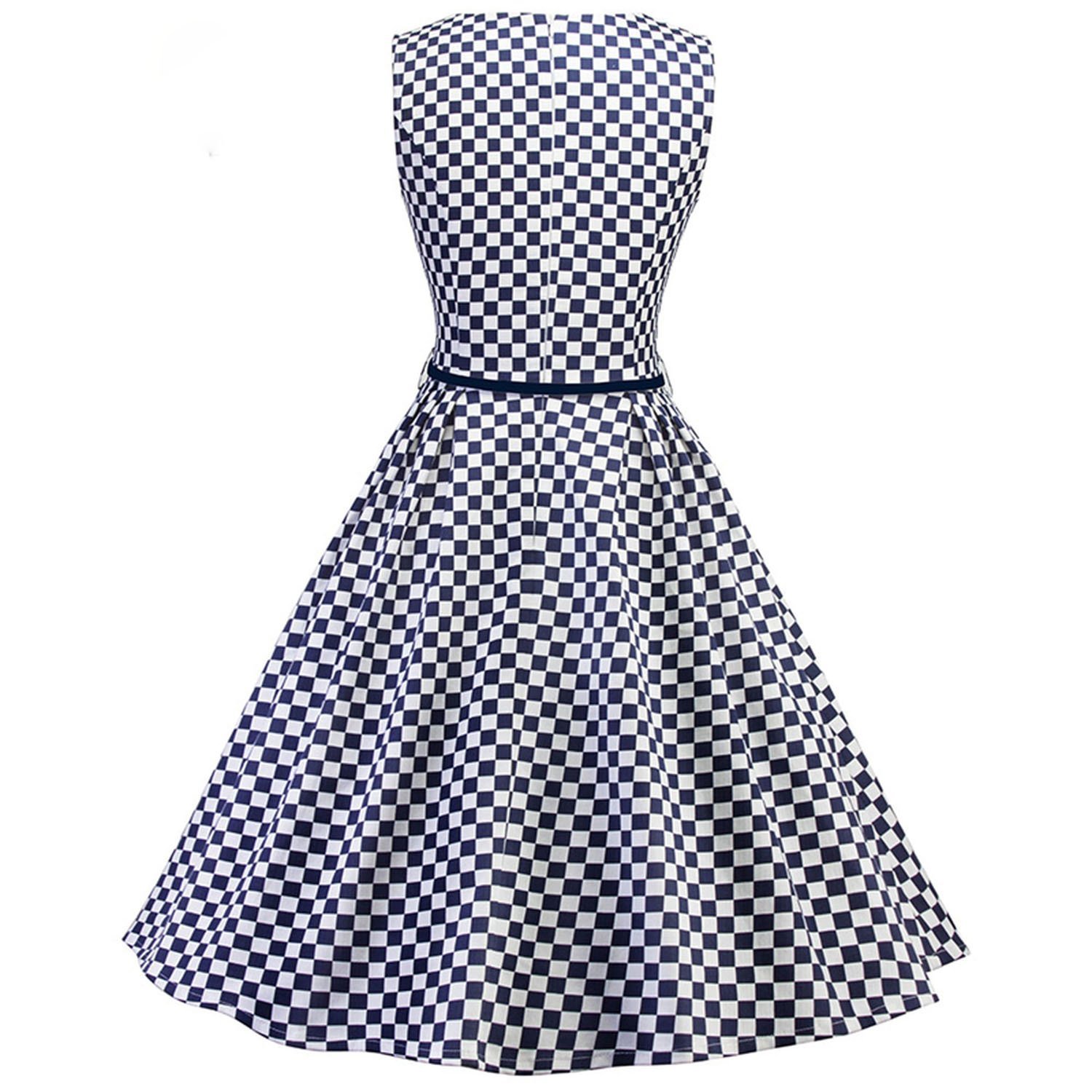 1586346dc17 Vintage 1950s Summer Dress Womens Square Neck Sleeveless Belt a line Plaid  Office Dress at Amazon Women s Clothing store