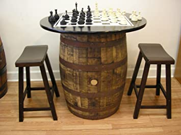Bon Vintage Whiskey Barrel Table Black Top W/Chess Board Chess Pieces 2 Bar