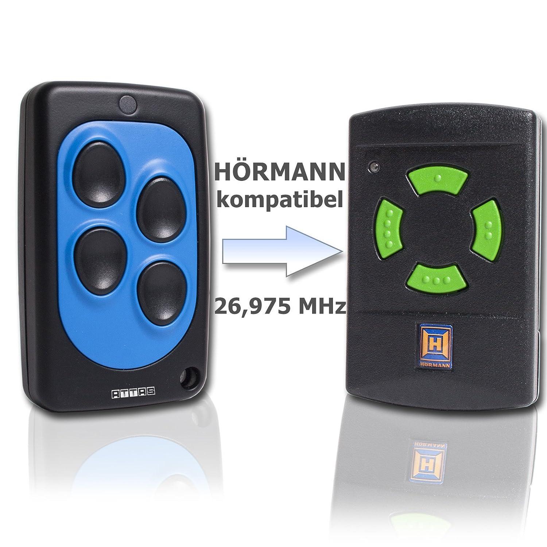 Handsender 27 MHz f/ür H/örmann HSE2 und HSM4 gr/üne Tasten 26,975 MHz Funk Garagentorantrieb