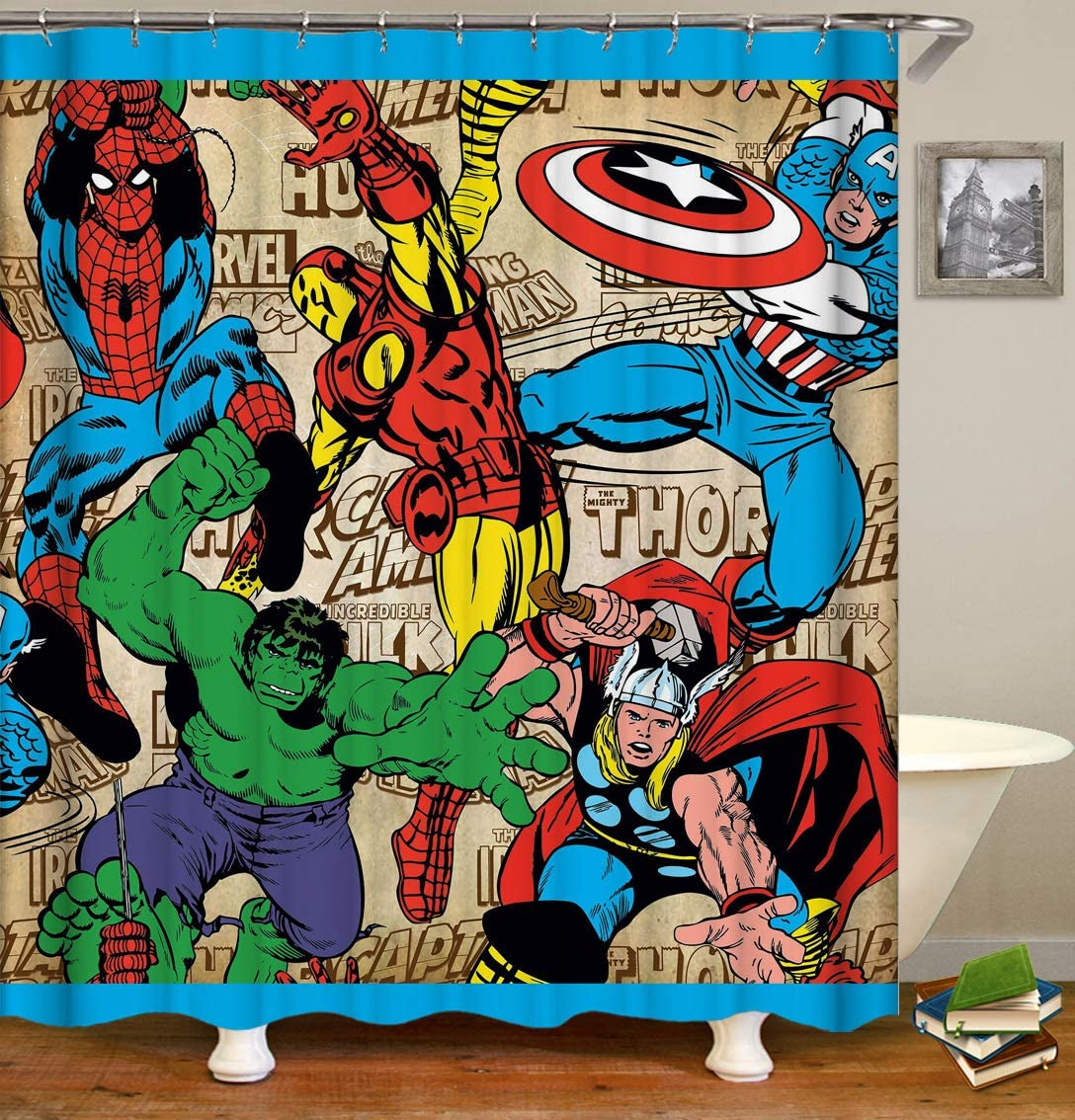 Doublucky Decorative Shower Curtain Spider Man Hulk Iron Man and Thor Captain America on Cartoon Paper Ornamental Bath Curtain Waterproof and Durable Polyester Fabric Curtain