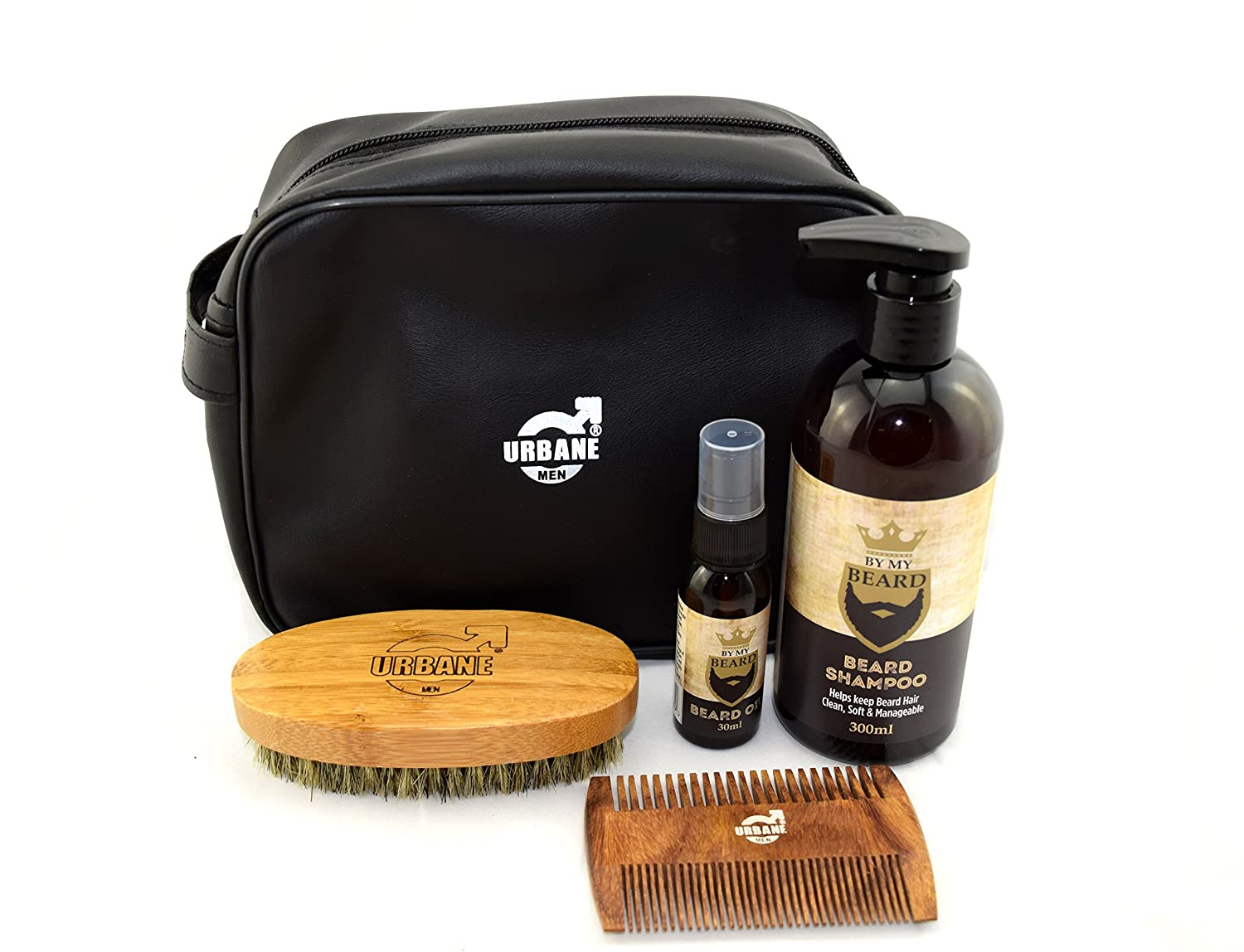 Urbane Men Beard Grooming Kit with Wash Bag - Beard Shampoo, Oil, Brush and Comb Gift Set