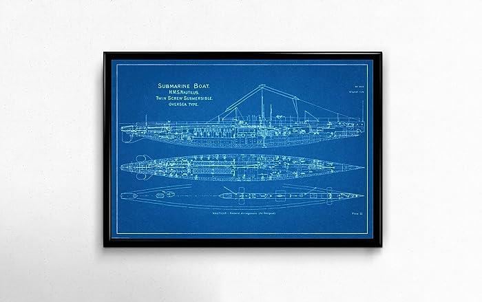 Amazon hms nautilus submarine blueprint style art print hms nautilus submarine blueprint style art print 18quot malvernweather Gallery