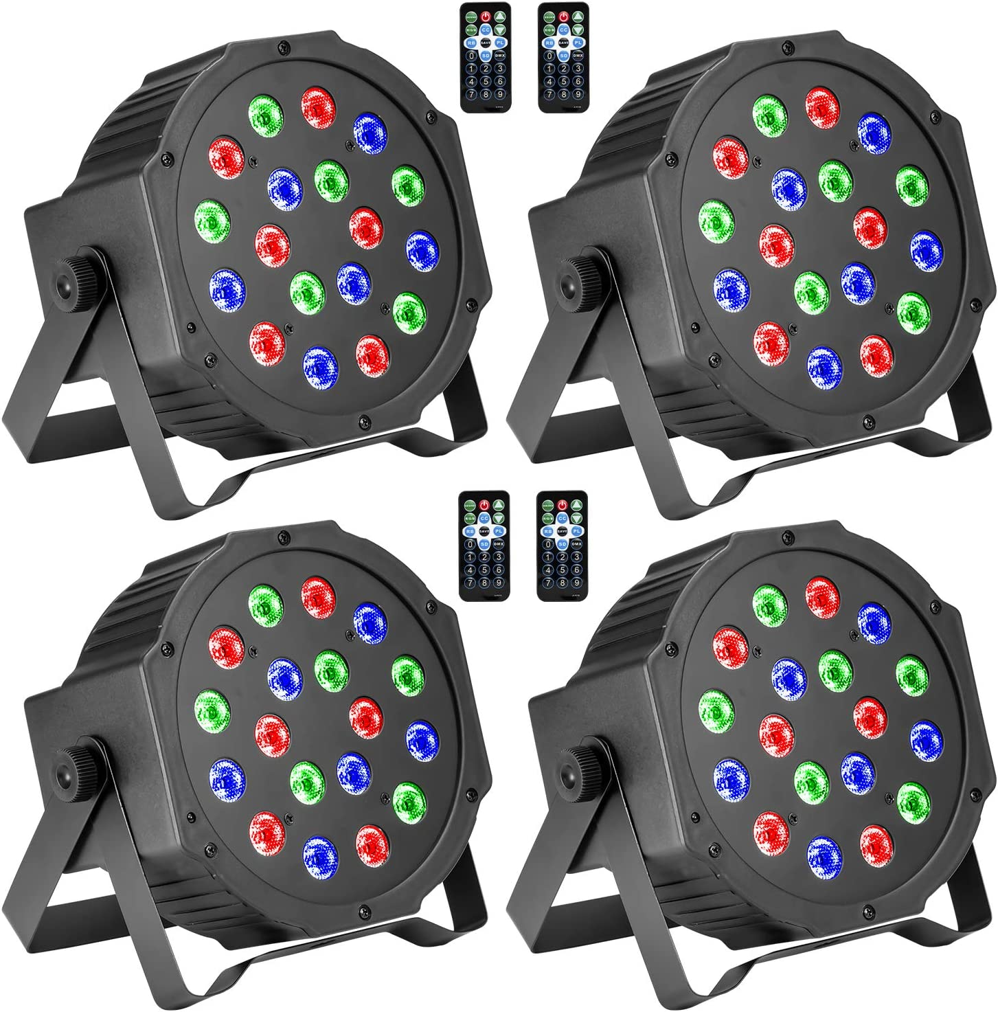 Stage Lights 2nd Version Sound Activated RGBW LED DJ Lights Mixed Beam Lights Effects with Remote Control DMX 512 Controllable Party Lights for Wedding Birthday Dance Party black 2
