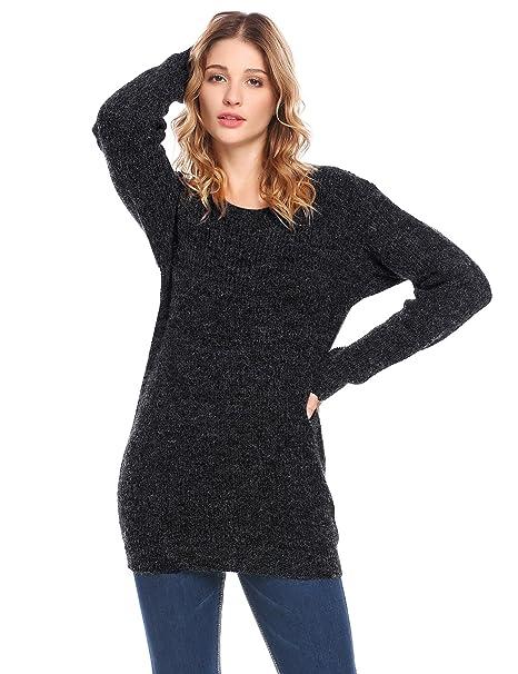063ea8fe5b912 Zeela Femme Pulls Manches Longues Pullovers Col O Épais Chandail Haut Top  Blouse