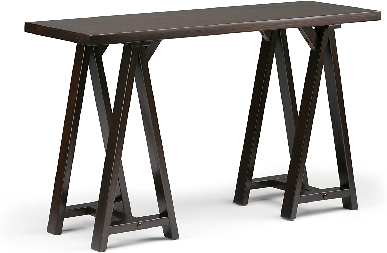SIMPLIHOME Sawhorse SOLID WOOD 50 inch Wide Modern Industrial Console Sofa Entryway Table in Dark Chestnut Brown, for the Living Room, Entryway and Bedroom