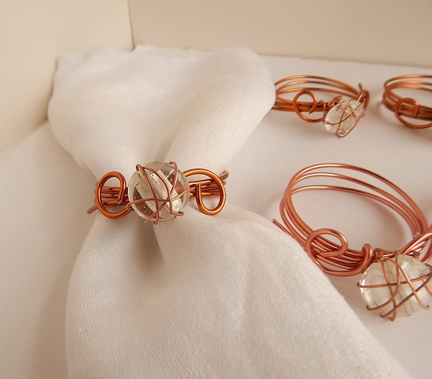 Copper Napkin Rings Wire Wrapped Clear Glass Beads 8 Coiled