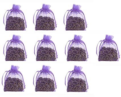 10 pcs 5 G Bolso de bolsas de Organza de flores de lavanda seca - acogedor bolsa sobres lleno de lavanda seca - Natural aroma fragancia para ...