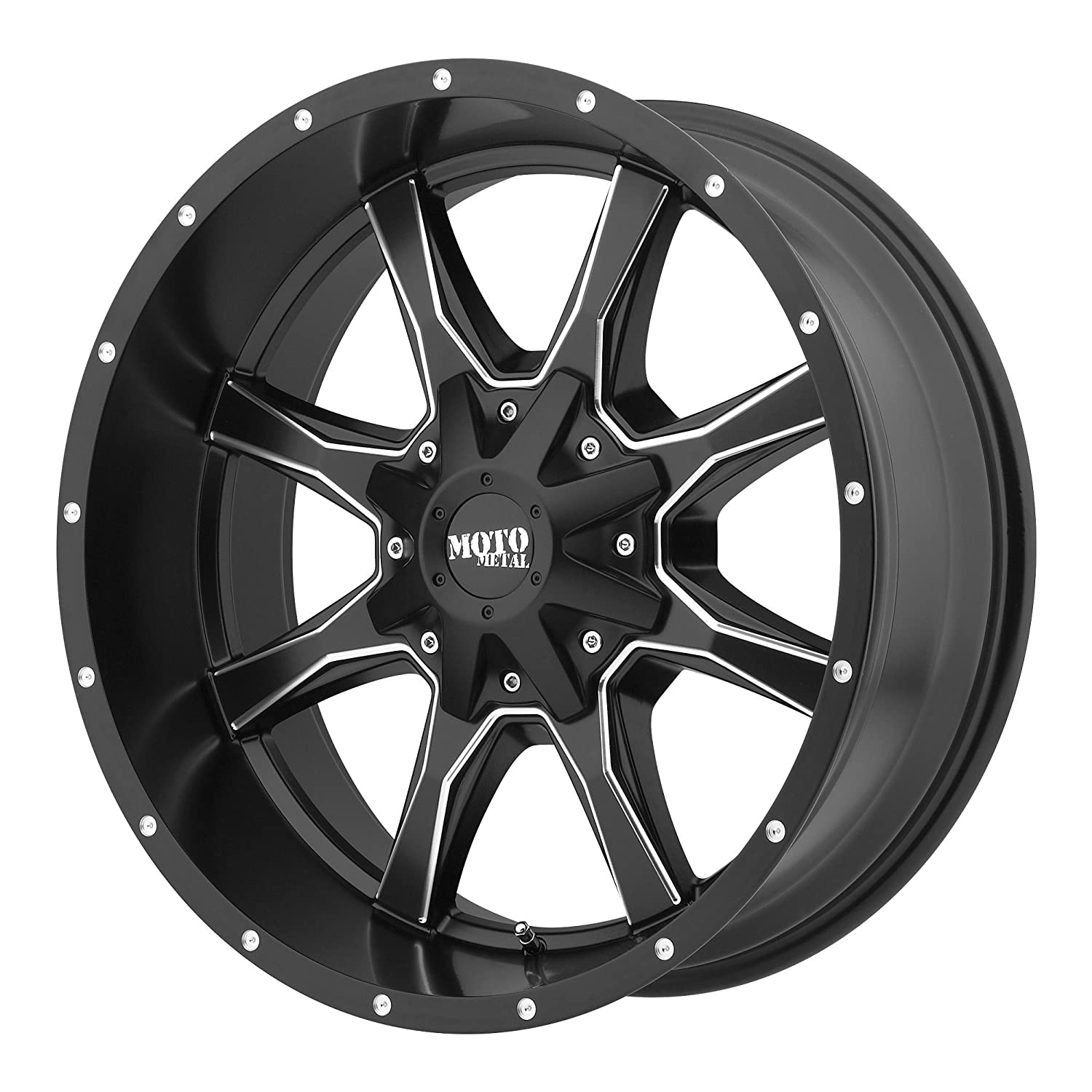 17x9//5x127,139.7mm, -12mm offset Moto Metal MO970 Semi Gloss Black Wheel Machined With Milled Accents